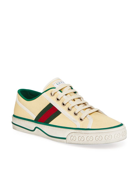 Image 1 of 4: Gucci Vulcan 78 Tweed Web Strap Tennis Sneakers