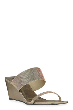Pedro Garcia Inell Iridescent Wedge Slide Sandals