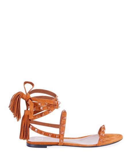 Valentino Garavani Suede Tassel Rockstud Flat Sandals