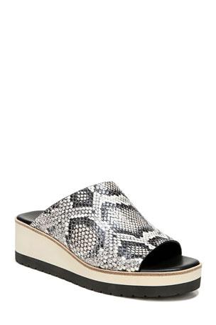 Vince Sarria Asymmetrical Snake-Print Slide Sandals