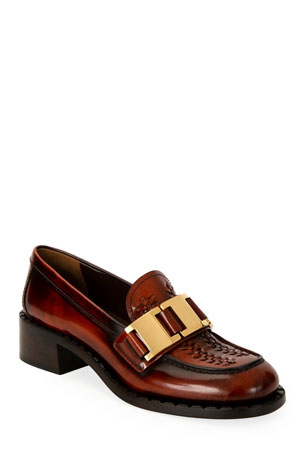 Prada 40mm Leather Chain Loafers