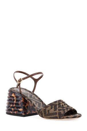 Fendi FF Block-Heel Sandals