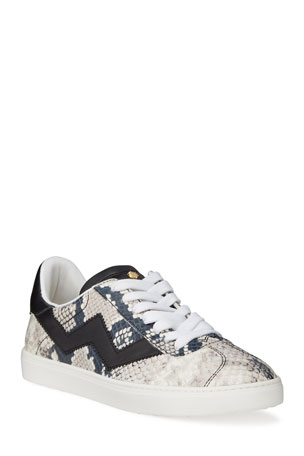 Stuart Weitzman Daryl Python Printed Leather Low-Top Sneakers