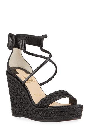 Christian Louboutin Bodrum Woven Cotton Ankle-Tie Espadrille Sandals