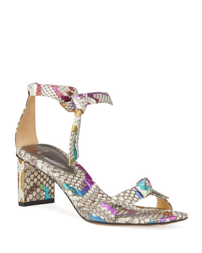 Clarita Multicolor Python Knotted Sandals