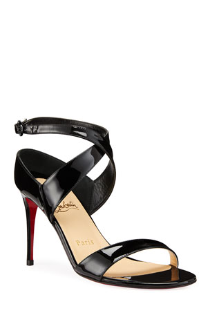 Christian Louboutin Liloo Patent Ankle-Strap Red Sole Sandals $845.00