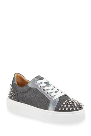 Christian Louboutin Vierissima 2 Flannel Spike Low-Top Sneakers