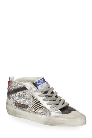 Golden Goose Midstar Glitter High-Top Court Sneakers $630.00