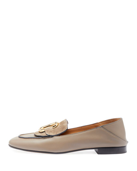 Image 2 of 3: C Leather Flat Fold-Down Loafers