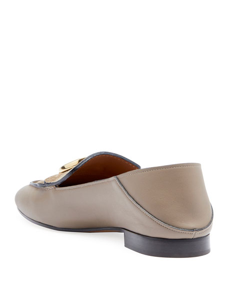 Image 3 of 3: C Leather Flat Fold-Down Loafers