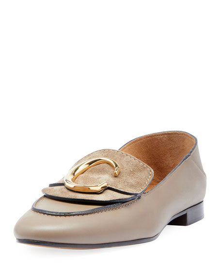 Image 1 of 3: C Leather Flat Fold-Down Loafers
