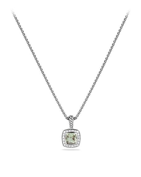 David Yurman Petite Albion Pendant With Semiprecious Stone And Diamonds On Chain In Praisiolite