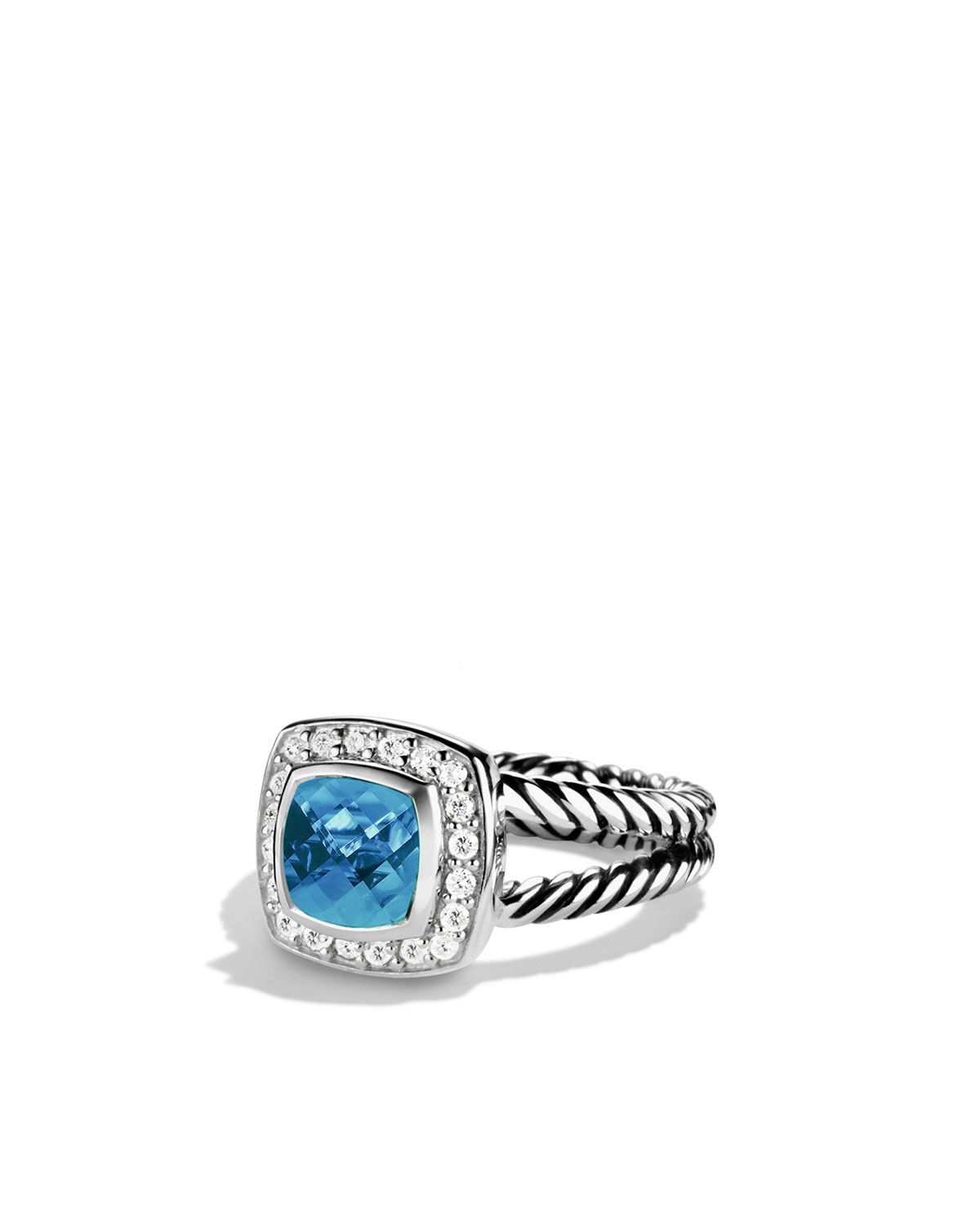 b87fd617d471 David Yurman Petite Albion Ring with Blue Topaz and Diamonds ...