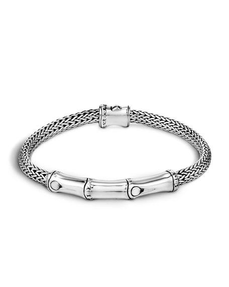 Silver Bamboo Station Bracelet