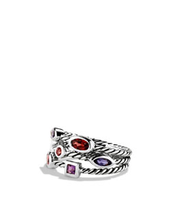 David Yurman Confetti Three-Row Ring with Garnet and Iolite