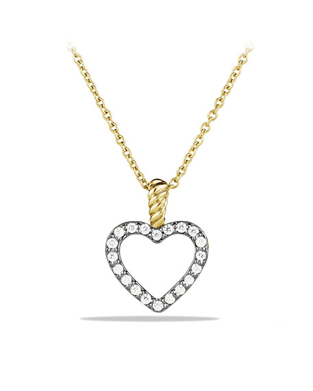 Cable Collectibles Heart Pendant with Diamonds in Gold on Chain