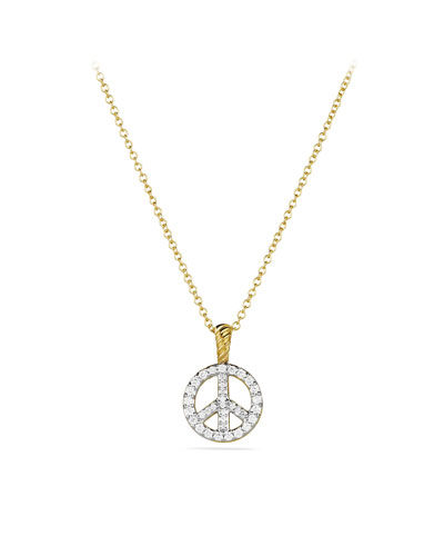 David Yurman Cable Collectibles Peace Sign Pendant with Diamonds in Gold on Chain