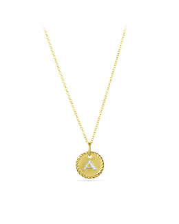 "David Yurman ""A"" Pendant with Diamonds in Gold on Chain"