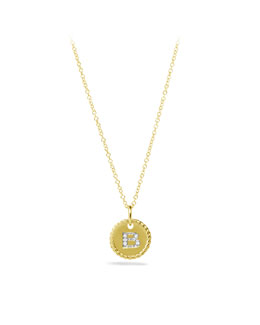 "David Yurman ""B"" Pendant with Diamonds in Gold on Chain"