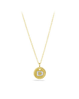 "David Yurman ""D"" Pendant with Diamonds in Gold on Chain"