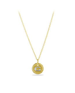 "David Yurman ""G"" Pendant with Diamonds in Gold on Chain"