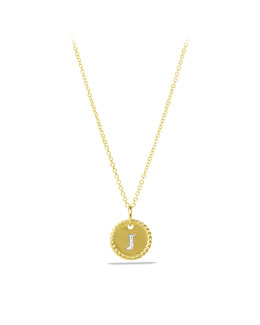 "David Yurman ""J"" Pendant with Diamonds in Gold on Chain"