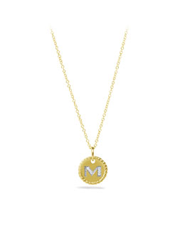 "David Yurman ""M"" Pendant with Diamonds in Gold on Chain"