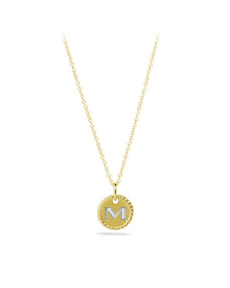 """M"" Pendant with Diamonds in Gold on Chain"