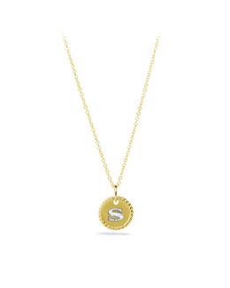 "David Yurman ""S"" Pendant with Diamonds in Gold on Chain"
