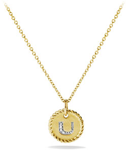 "David Yurman ""U"" Pendant with Diamonds in Gold on Chain"