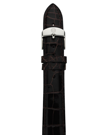 18mm Alligator Watch Strap, Espresso