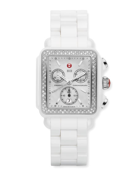 Ceramic Deco Diamond Watch, White