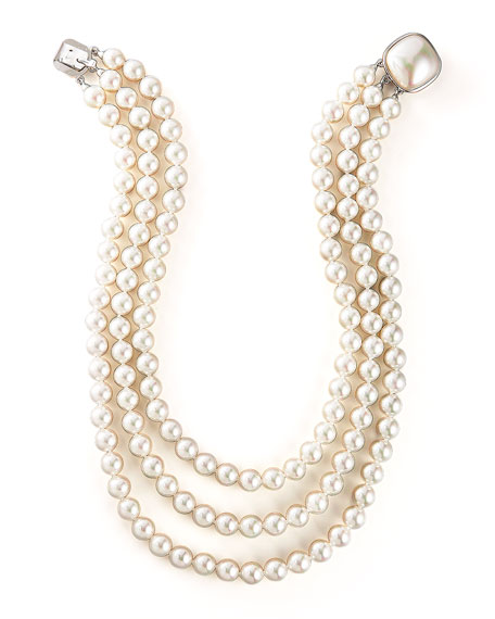 8MM WHT PEARL 3 ROW NECKLACE