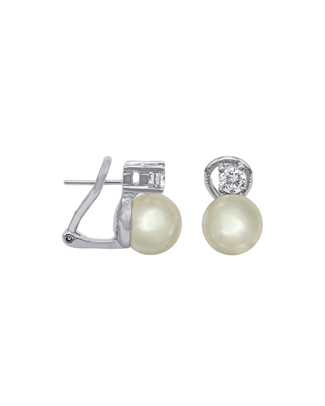 Majorica Pearl & CZ Stud Earrings