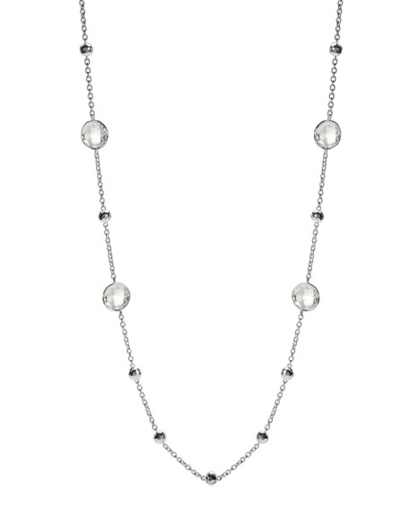"""Ippolita Rock Candy Silver Lollipop Ball & Stone Station Necklace in Clear Quartz, 38"""""""