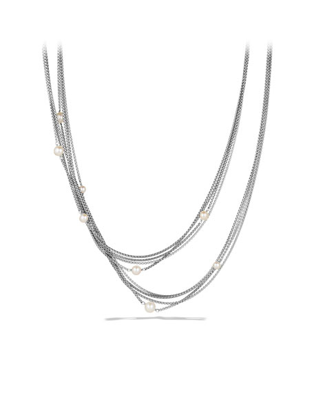 Four-Row Chain Necklace with Pearls