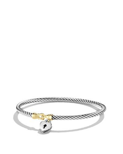 David Yurman Cable Collectibles Heart Lock Bracelet with Gold