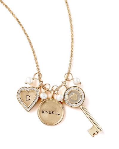 Heather Moore Initial Channel-Set Small Heart Charm