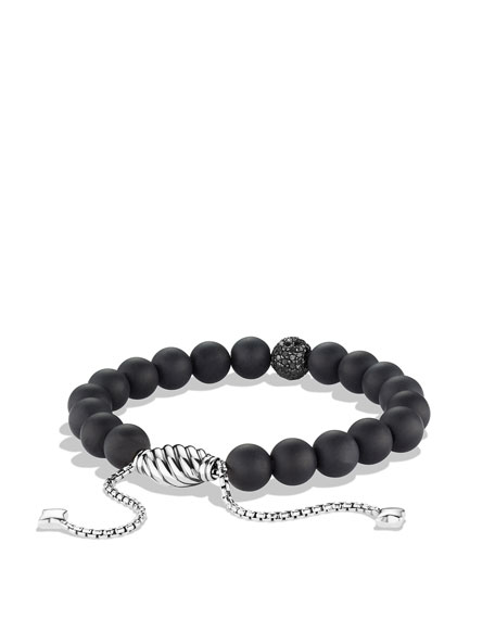 Spiritual Beads Black Onyx Bracelet with Black Diamonds