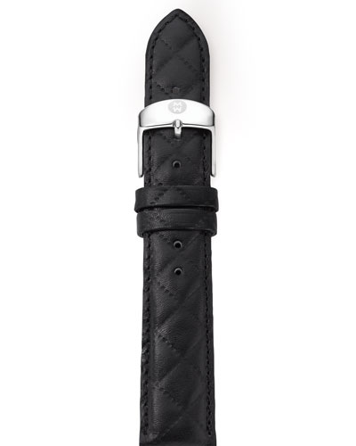 16mm Quilted Leather Strap, Black