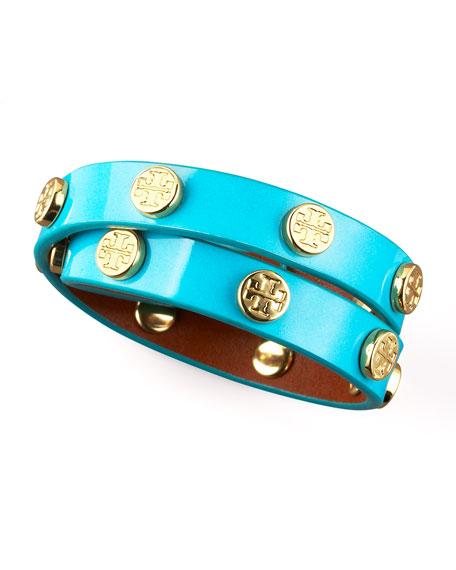 Logo-Studded Bracelet, Turquoise