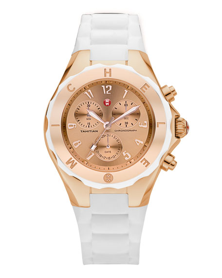 Tahitian Large Jelly Bean Chronograph, White/Rose Gold