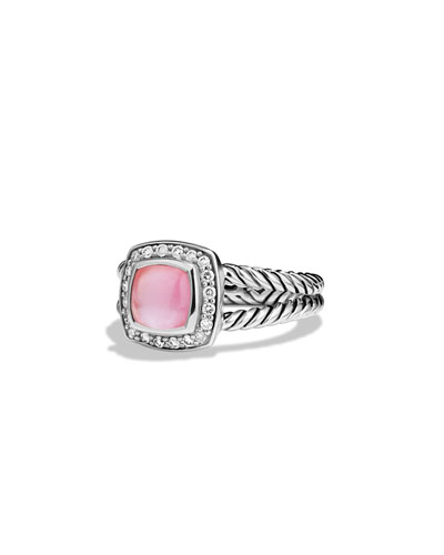 David Yurman Petite Albion Ring with Rose Quartz and Diamonds