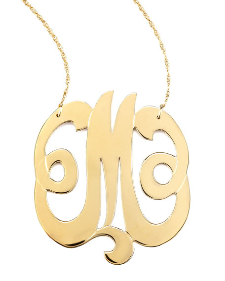 JENNIFER ZEUNER Swirly Initial Necklace, M in Gold