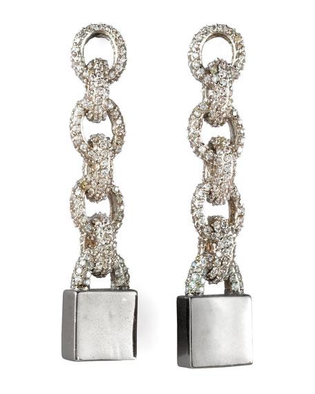 Pave Padlock Earrings
