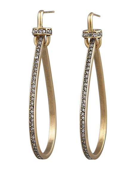 Paige Novick Pave Teardrop Hoop Earrings
