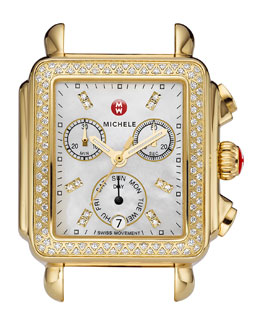 MICHELE Deco Day Diamond Head & Bracelet, Yellow Gold