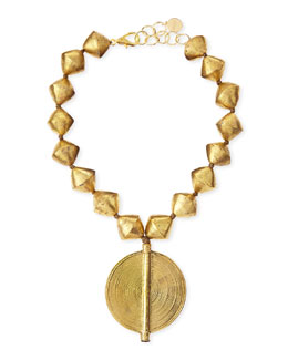 Nest Brass Beaded Pendant Necklace