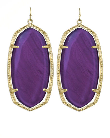 Danielle Earrings, Purple Agate