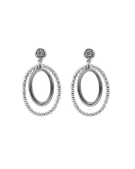 Caviar Oval Twist Earrings